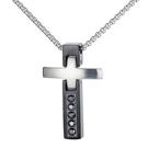 《QBOX 》FASHION 飾品【C20N1751】精緻個性基督教鑲鑽十字架鈦鋼墬子項鍊/掛飾