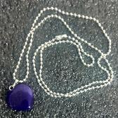 天然晶石 紫瑪瑙 心型水晶能量靈擺項鏈