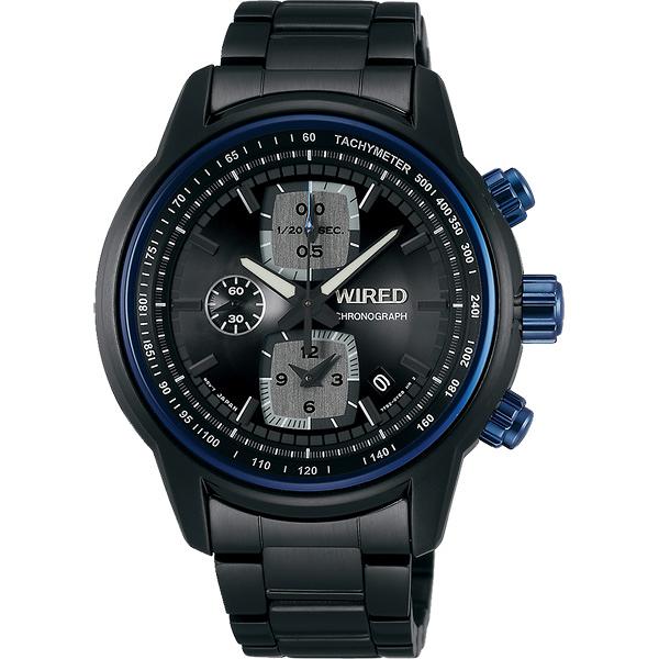 WIRED Reflection 時空跳躍計時錶-藍圈x鍍黑/43mm 7T92-X271SD(AF8U17X1)
