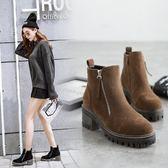 粗跟短靴-歐美顯瘦復古側拉鍊女馬丁靴2色73is39[時尚巴黎]