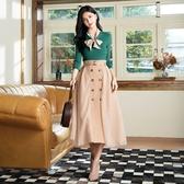 秋冬新品[H2O]異素材拼接平織布英倫風長紗裙 - 黑/卡/淺綠色 #0632011