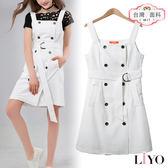 洋裝直紋MIT歐風雙排扣腰帶OL連身吊帶裙背心裙LIYO理優O816001