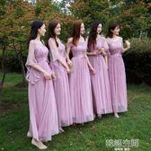 伴娘服韓版一字肩洋裝灰色長款顯瘦伴娘團姐妹裙禮服