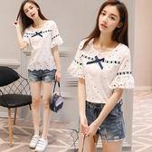 白色蕾絲t恤短袖女中大尺碼新款鏤空上衣韓版寬鬆百搭體恤 js5472『miss洛羽』