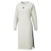 PUMA CLASSICS 女裝 長袖 連身裙 洋裝 下擺開叉 休閒 白 歐規【運動世界】53028705