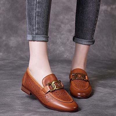 真皮手工女鞋 透氣低跟鞋 套腳時尚休閒鞋/3色-夢想家-標準碼-0409