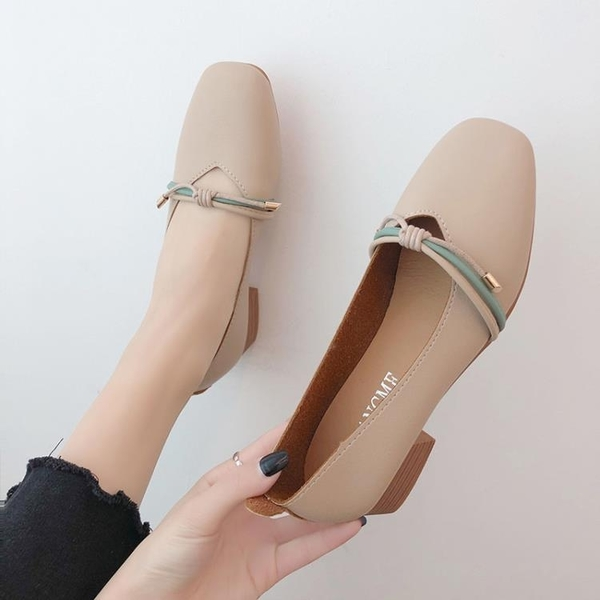 小皮鞋 單鞋女中跟小皮鞋2019新款夏季淺口奶奶鞋百搭粗跟復古仙女 嬌糖小屋