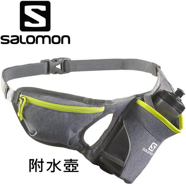 Salomon Hydro 45 Belt 健跑600ml水壺腰包-371749灰+綠 /慢跑臀包/路跑馬拉松隨身包/短程登山健行