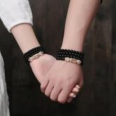 佛珠手環 水晶手鏈黑曜石佛珠男士款女日韓版情侶個性手串生肖轉運飾品首飾 交換禮物