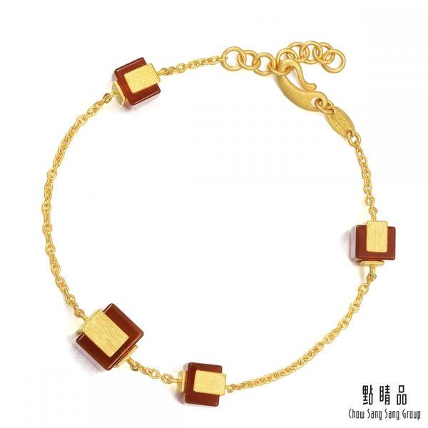 點睛品 g*collection系列 方形紅瑪瑙黃金手鍊
