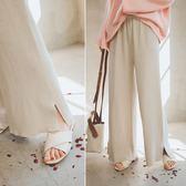MUMU【P45720】厚磅棉柔修身直筒小開岔綁帶針織寬長褲。五色