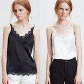 歐洲仿真絲緞吊帶背心女春夏西裝內搭新品蕾絲V領顯瘦打底衫大碼
