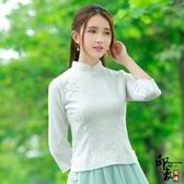 漢元素中國風服飾改良盤扣旗袍燙花暗印上衣茶服 超值價