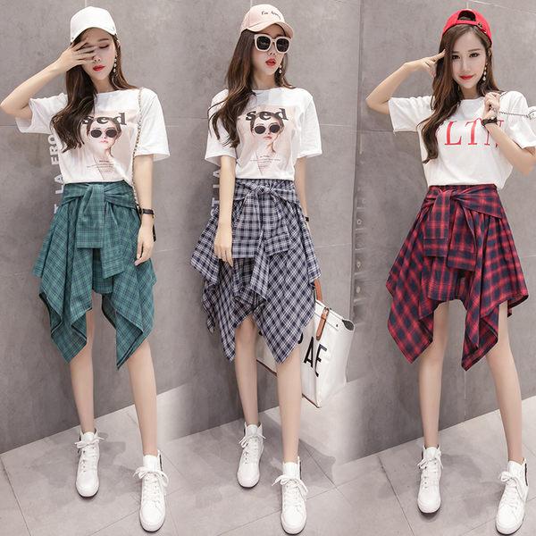 均一價399 韓國風不規則格子傘裙小清新時髦套裝短袖洋裝