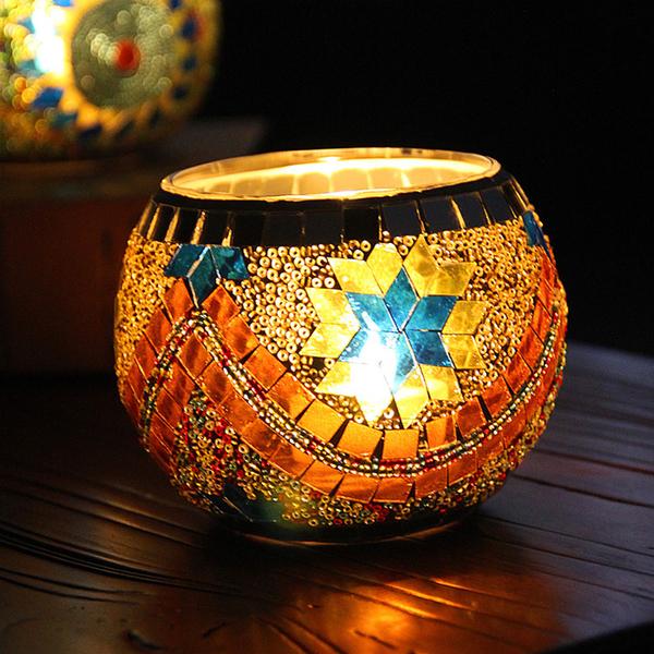 馬賽克玻璃燭台歐式復古擺件禮品爛漫酒吧蠟燭杯家居飾品 夏季上新