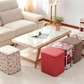 多功能收納凳子實木可坐成人時尚沙發儲物凳皮整理箱家用換鞋椅子QM『櫻花小屋』