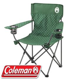 【Coleman 美國 圓點綠 渡假休閒椅】CM-26735/折疊椅/導演椅/折合椅/露營椅/童軍椅/置物★滿額送