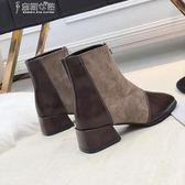 裸靴小短靴女春秋學生瘦瘦靴粗跟中跟踝靴短筒靴子女奈斯女裝