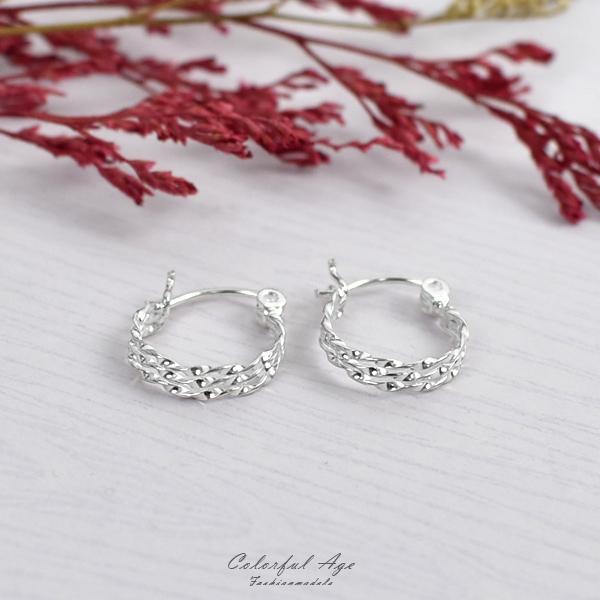純銀耳環 鏤空波浪線圈耳針銀飾NPD218