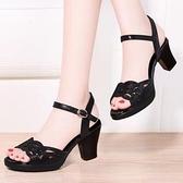 魚口鞋 新款粗跟涼鞋女夏季魚口女鞋水鑚高跟鞋女黑色媽媽鞋子女中跟-Ballet朵朵