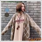 針織罩衫 清新格紋質感針織外套JM937...