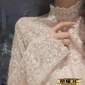 蕾絲打底衫 蕾絲打底衫女2021秋冬新款小衫高領洋氣內搭加絨長袖百搭網紗上衣【99免運】
