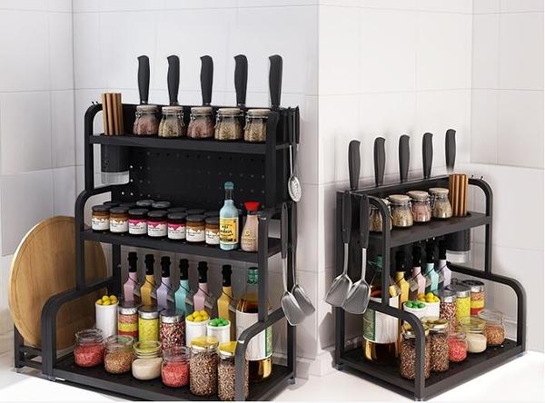 廚房置物架 多層臺面油鹽醬醋收納調料架子轉角調味品儲物刀架菜板【快速出貨八折鉅惠】