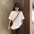 中長款T恤 純棉凈版衣服2020夏季白色短袖t恤女夏棉ins洋氣厚純色上衣體衫 店慶降價