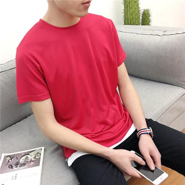 原色拼接假兩件造型圓領短袖上衣(六色)【60301】