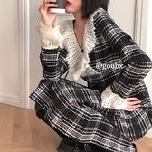 蕾絲格子洋裝女2020年秋冬季新款法式復古中長款氣質溫柔風裙子