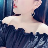 耳環 68365#耳環女可愛簡約網紅同款歐美長款金屬流蘇氣質潮人耳飾D507快時尚