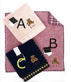 【京之物語】DAKS日本製經典小熊素面純綿麻紗方毛巾-藍色/紫色/粉色