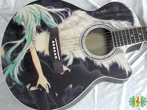 珍琴 吉他 40吋 彩繪 初音 未來 動漫 黑天使 民謠吉他 木吉他 ( 附贈 厚袋 調音器)