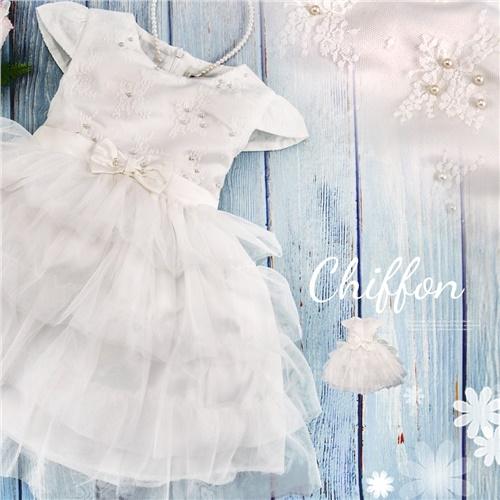 優雅織花珍珠網紗蛋糕裙洋裝白色禮服-小花童畢業典禮音樂會(270700)【水娃娃時尚童裝】