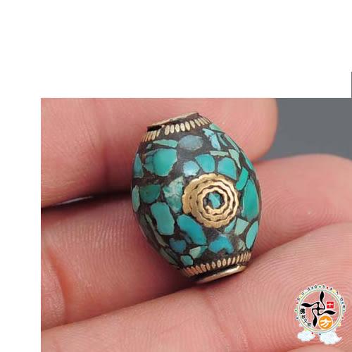 綠松石藏式手工銅珠  【 十方佛教文物】