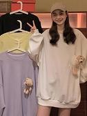 長袖上衣 2021春秋季新款小熊中長款衛衣外套女潮ins寬鬆韓版薄款長袖上衣 韓國時尚週