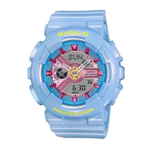 CASIO BABY-G/潮流時尚雙顯運動女錶/粉嫩藍/BA-110CA-2ADR