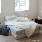 被套床包組-特大- [細條藍床包 x 大格白被套 ]新疆棉自然無印;混搭良品;男子部屋;翔仔居家