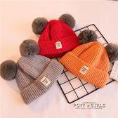 三件套秋冬嬰兒寶寶加絨帽子圍巾兒童男針織帽女公主可愛帽1-4歲2