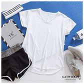 Catworld V字線條側抽繩快乾運動T【11406904】‧S-XL