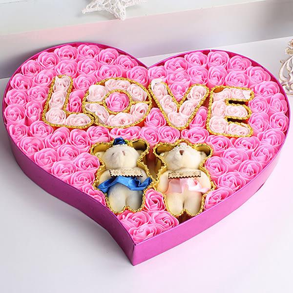 實用母情節禮物玫瑰香皂花禮盒創意節慶禮品LOVE對熊婚慶用品─預購CH321