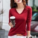 2020春裝大碼v領白色長袖t恤女打底小衫新款韓版上衣網紅ins超火「時尚彩紅屋」