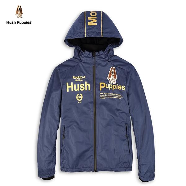 Hush Puppies 外套 男裝英文字印花連帽立領防風外套