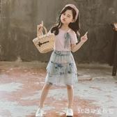 童裝夏款套女童裙褲九分褲套裝2020新款上下兩件套洋裝中大童寶寶雪紡 LR23053『3C環球數位館』