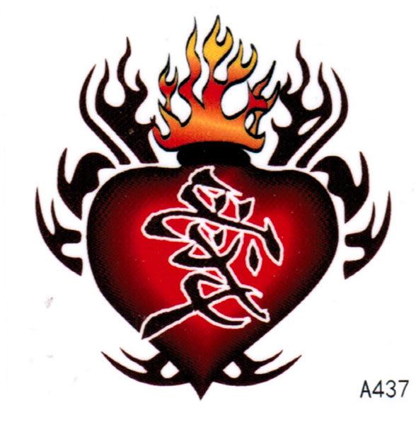 薇嘉雅  愛心 超炫圖案紋身貼紙 A437