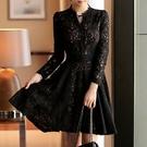 洋裝-長袖黑色鏤空蕾絲修身女連身裙73pu85【巴黎精品】