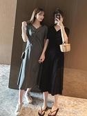 長洋裝 T恤洋裝女裝夏季2021新款潮寬鬆流行顯瘦中長款過膝v領露背裙子 秋季新品