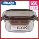 <特價出清>韓國 KOMAX 巧克力方形強化玻璃保鮮盒650ml 59072【AE02254】i-Style居家生活