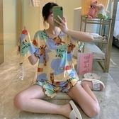 春秋睡衣女夏季薄款短袖純棉甜美可愛家居服網紅爆款兩件套裝小鹿新品上新
