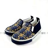 簡單個性  撞色格紋 休閒懶人鞋《7+1童鞋》D272藍色